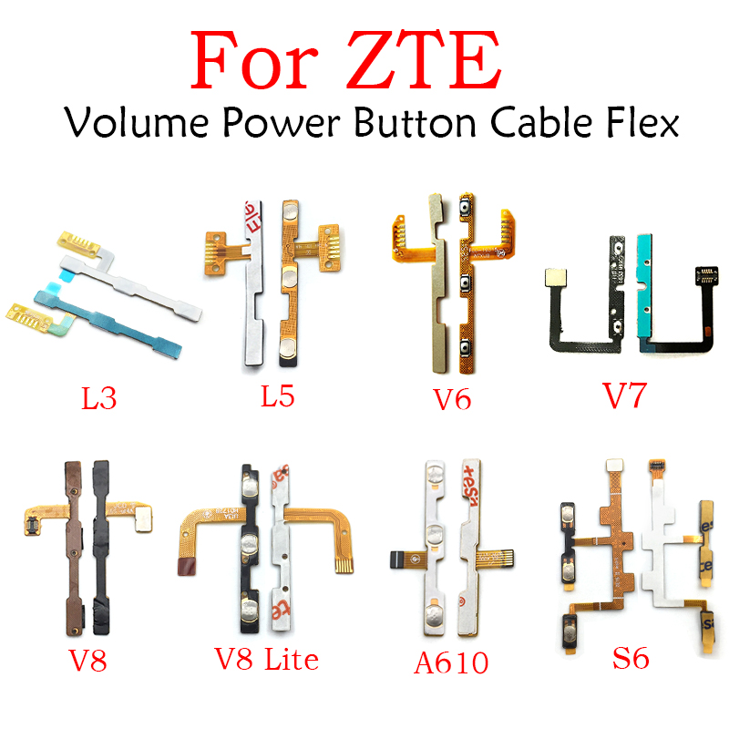 Power Switch On/Off Button Volume Key Button Flex Cable For ZTE Blade L3 L5 S6 V6 V7 A610 A452 A510 A462 A310 A602 V8 A6 Lite