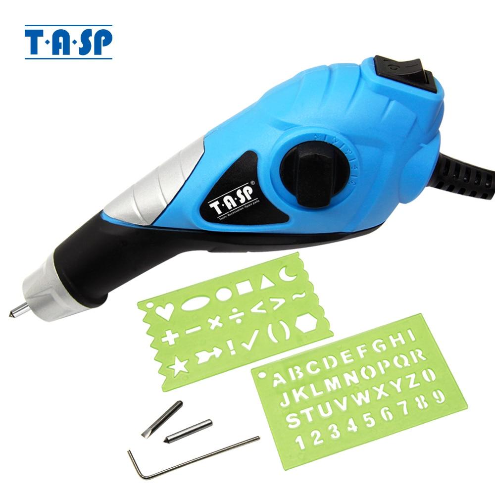 TASP 220V graveur électrique métal à vitesse variable stylo de gravure - pointes en acier au carbure pour acier bois plastique verre bricolage outil électrique