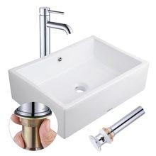 Aquaterior dikdörtgen porselen seramik banyo gemi lavabo w/taşma + 12 1/2