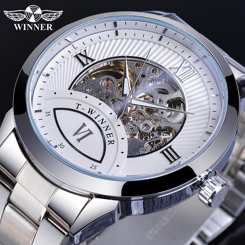 Winner Half Skeleton Luminous Mens Silver Steel Roman Number Display Fashion Casual Automatic Watch Mechanical Top Brand Luxury