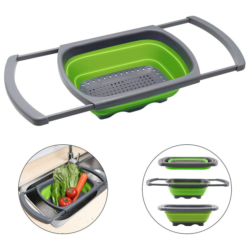 Silicone Collapsible Colander Over Sink Veggies Strainers with ...