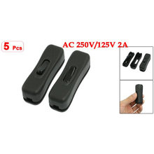 5 pcs ac 250v/125v 2a black plastic on/off button in line cord