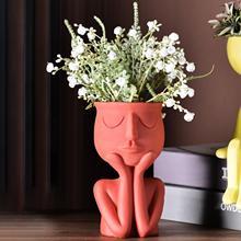 Керамическая ваза с изображением Человека думающего лица для домашних растений, цветочный горшок, плантатор, настольное украшение, скульпт...