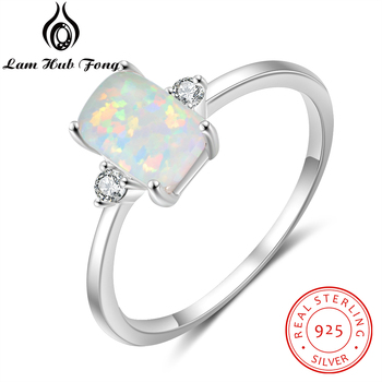 925 Sterling Silver Rectangular Opal Rings for Women Cubic Zircon Female Finger Rings Wedding Silver 925 Jewelry (Lam Hub Fong) slovecabin real 925 sterling silver link chain lock finger rings for women vintage napkin wedding rings for women bijoux female