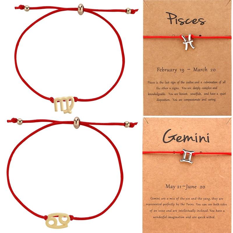 2020 новый стиль 12 12 Созвездие браслеты Женская мода веревка цепь Медный сплав браслет со знаком зодиака ювелирные изделия для девочек