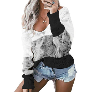 2020 Autumn Winter Knitted Sweater Ladies V-meck Off Shoulder Sweater Women Pullover Sweater Warm Loose Striped Sweater Female фото