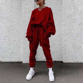 40# Women Solid Color Sets Outdoor Leisure Pants Time Loose Athletic Wear Long Sleeves Sportware Suit Спортивные Костюмы Жен