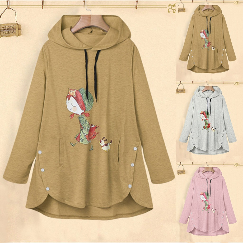 Sudaderas Mujer 2020 Harajuku Autumn Women Casual Cartoon Printing Full Sleeve Hooded Pocket Loose Blouse Female Tracksuit Coat
