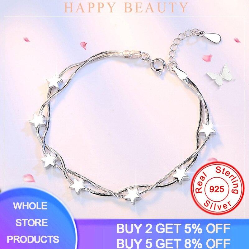 Fine Elegant Chain Bracelet 925 Sterling Silver Beads Stars Charm Bracelet For Women Snake Link Chain Bracelet Girl Jewelry Gift
