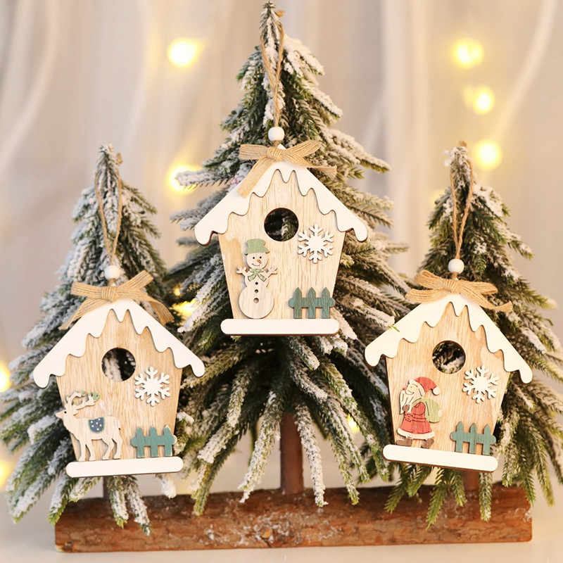 1PC House Christmas Santa Claus Elk Snowman Wooden Pendants Ornaments Wood Material Xmas Tree Decorations DIY Decor Supplies