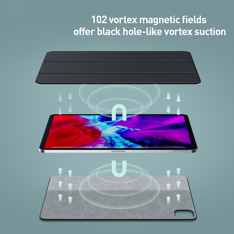 Baseus magnética tablet caso para ipad pro 11 12.9 caso 2020 de três dobras capa traseira do plutônio para ipad pro 11 12.9 2020 smart cover caso 5
