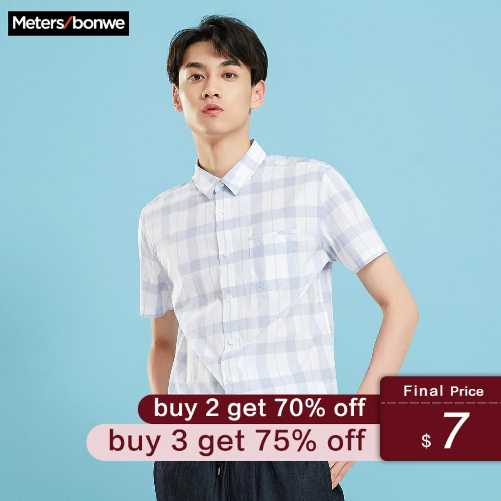 Metersbonwe Men's Plaid Shirt Male Short Sleeve 2019 New Summer Student Trend Hong Kong Style Men's Shirt рубашка мужская