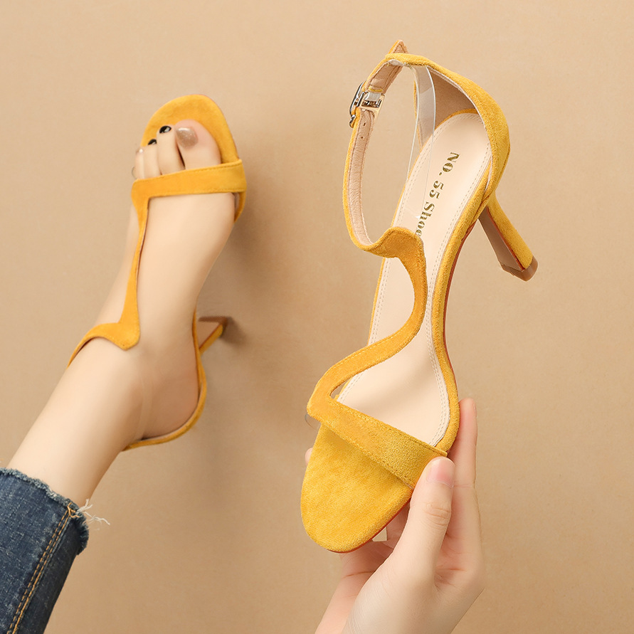 Women High-Heeled Sandals Stiletto High Heels Shoes Rope Ankle Strap Buckle Sandals Ladies Heels Classics Women Shoes Yellow