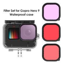 아쿠아 다이브 필터 세트 GoPro Hero 9 액션 카메라 용 핸드 헬드 카메라 요소 레드 마젠타 색 스노클 필터