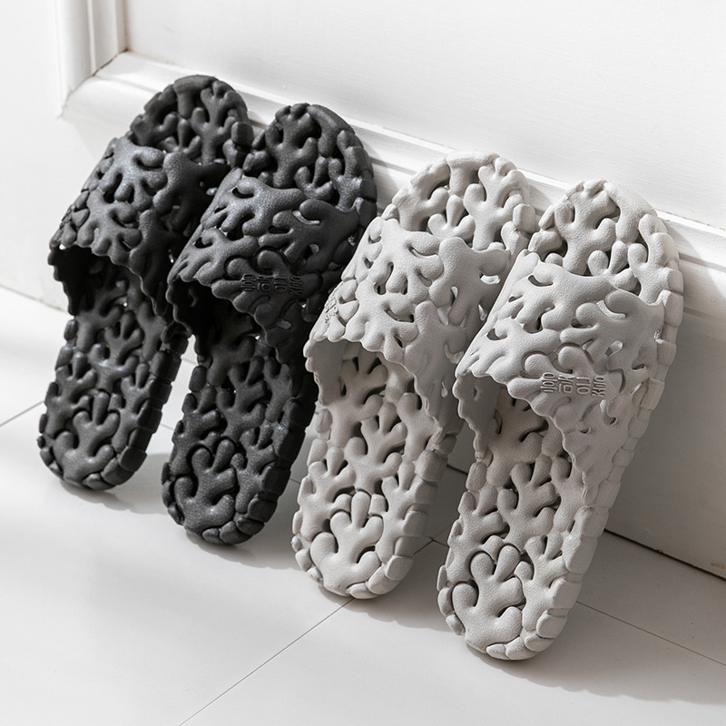 Men Indoor Bathroom Slippers PVC Home Slippers Lovers Hollowed Out Soft Bottom Flip Flops Women Cute House Shoes Size 11