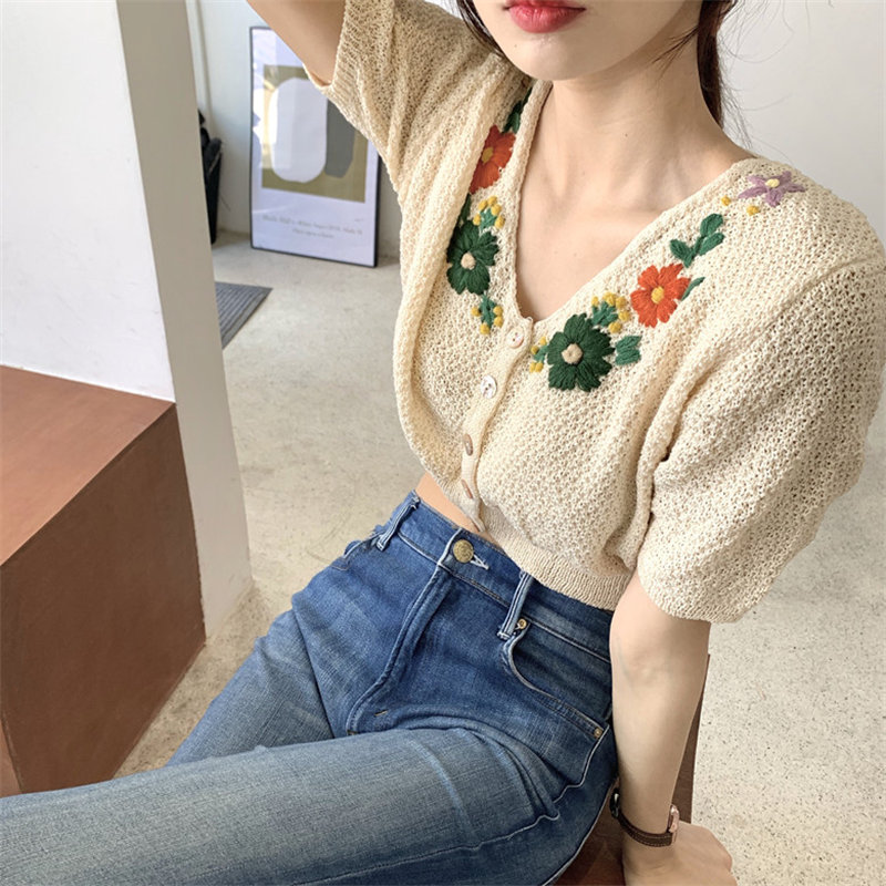 Alien Kitty Sweet High Waist Retro Chic Thin Knitted 2020 All Match Vintage Embroidery Flower Tops Summer Leisure Short Sweaters