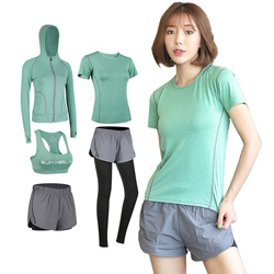 5 pcs Dry Fit Women Fitness Sportswear shaper High Waist Leggings Bra Pant Gym Running Sports Set  women tracksuit  matching set