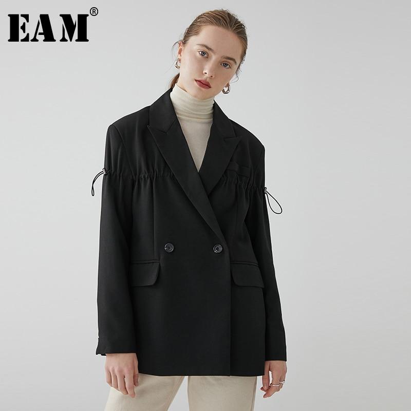 [EAM]  Women Black Drawstring Split Joint Blazer New Lapel Long Sleeve Loose Fit  Jacket Fashion Tide Spring Autumn 2020 1R079