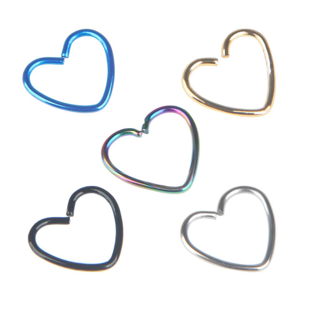 2PCS כירורגי פלדת לב טבעת פירסינג עגיל חישוק Helix סחוס חישוק שפתיים האף טבעות מסלולית Helix תכשיטי גוף תכשיטים