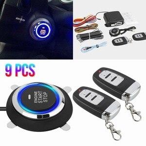 9PCS Keyless Entry System Start Stop Car Alarm Security System Start Stop Button Car Central Lock Auto Alarm Remote Engine Start