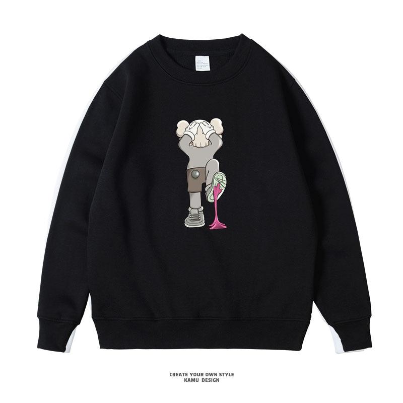 Cute cartoon Painting Men's Hoodies Oversized Pullover Thick Loose Clothes Fleece Hot Harajuku 2020 Winter Sweatshirts Hoodies