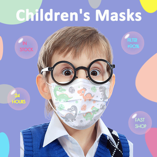Children's Disposable Face Mouth Mask Cotton Cute Child Breathable 3 Layer Dust PM2.5 Kids Protective Mask  Fast Shop Earloop