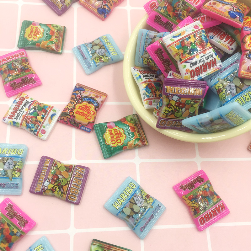 20Pcs Miniature Cartoon Candy Simulation Fake Food Flat Back Resin Cabochons Scrapbooking For Phone Bows DIY Craft Accessories