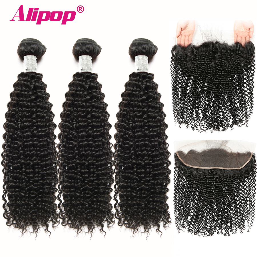 Brazilian Kinky Curly Bundles With Frontal Bundles With Closure Remy Human Hair 3 Bundles With Closure ALIPOP