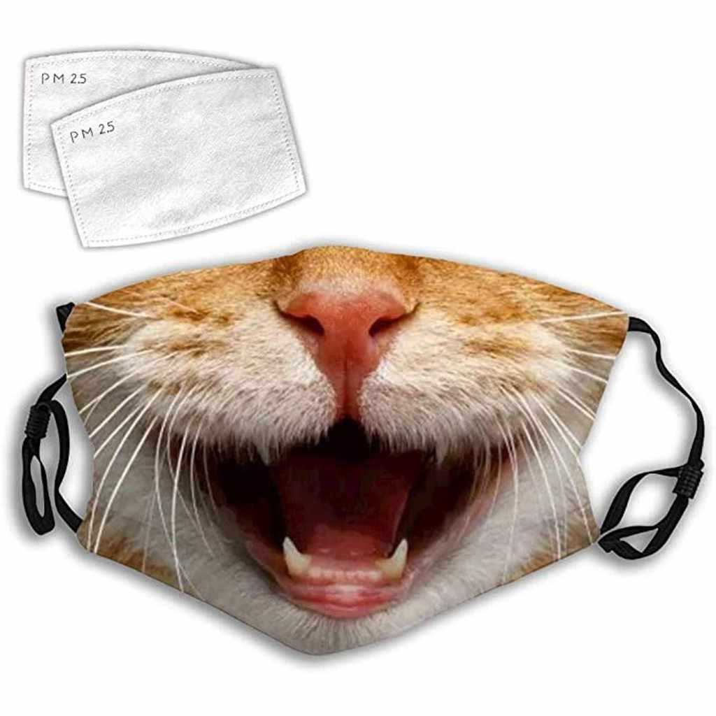 Новая забавная маска для лица с 3D-принтом кошки, маска для защиты от загрязнения, модная Пыленепроницаемая маска с фильтром Wth 2, моющаяся 604