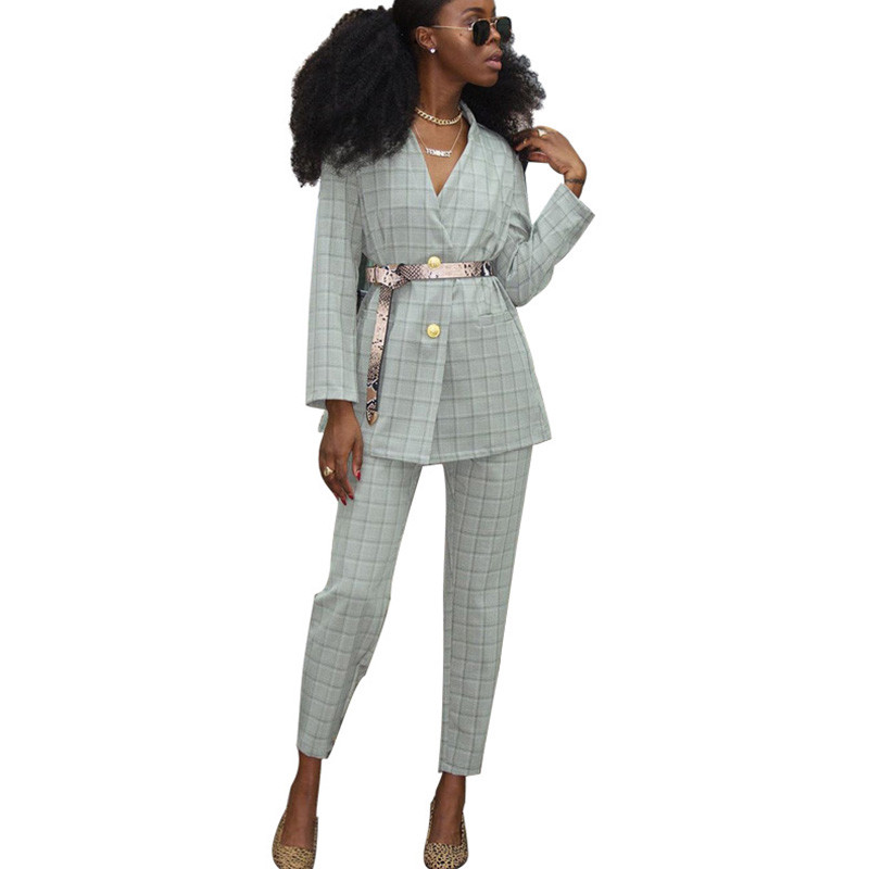 Office Lady Work Wear Pant Suits Women 2 Piece Sets Single Breasted Plaid Blazer Jacket And Trousers Suit Streetwear Feminino
