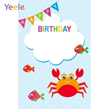 Yeele Birthday Party Decor Photocall Sea Fish Crab Photography Backdrops Personalized Photographic Backgrounds For Photo Studio