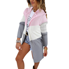 Hooded Cardigan Sweaters Women Patchwork Cardigans Long Cardigans Casual Knitted Cardigans Hooded Sweater Thin jersey mujer D30