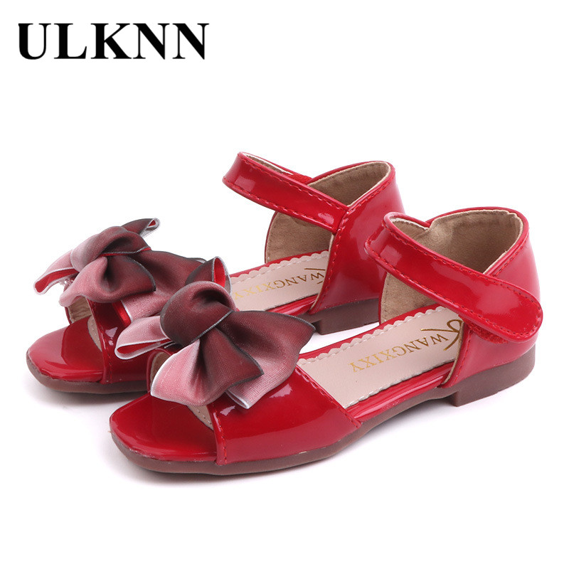 ULKNN 2020 Summer New Products Girls Bow Sandals Korean-style Little Girl Bright Skin Princess Sandals Wholesale