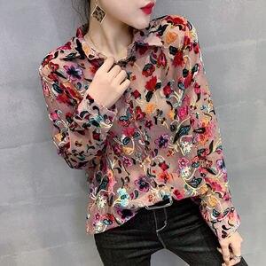 Женская блузка с длинным рукавом, элегантная Свободная блузка с цветочным принтом, большие размеры, на весну и осень, C6125
