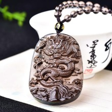Dragon Jade Pendant Natural Ice Obsidian Necklace Chinese Hand-Carved Fashion Charm Jewelry Lucky Amulet for Men Women Gifts natural black obsidian pixiu safety buckle jade pendant necklace hand carved fashion charm jewelry amulet for men women gifts