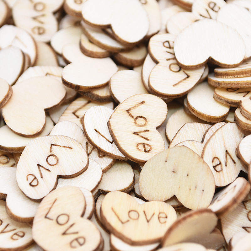 100Pcs Mini Wooden Love Heart Shape Confetti Wedding Table Scatter Decoration DIY Party Craft Christmas Ornaments