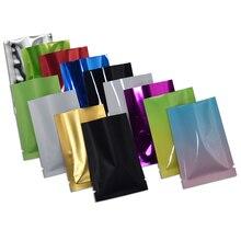 200pcs/lot Glossy Aluminum Foil Open Top Vacuum Pouch Heat Seal Food Vacum Bag Matte Colored Mylar Foil Packing Sample Bags