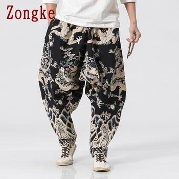 Zongke smok wzór spodnie męskie biegaczy spodnie męskie spodnie Streetwear spodnie dresowe spodnie Harem spodnie męskie spodnie XXXL 2019 jesień nowy tanie i dobre opinie CN (pochodzenie) Pełnej długości Plisowana REGULAR COTTON Poliester 2 29 - 3 35 Midweight Suknem PATTERN Chiński styl