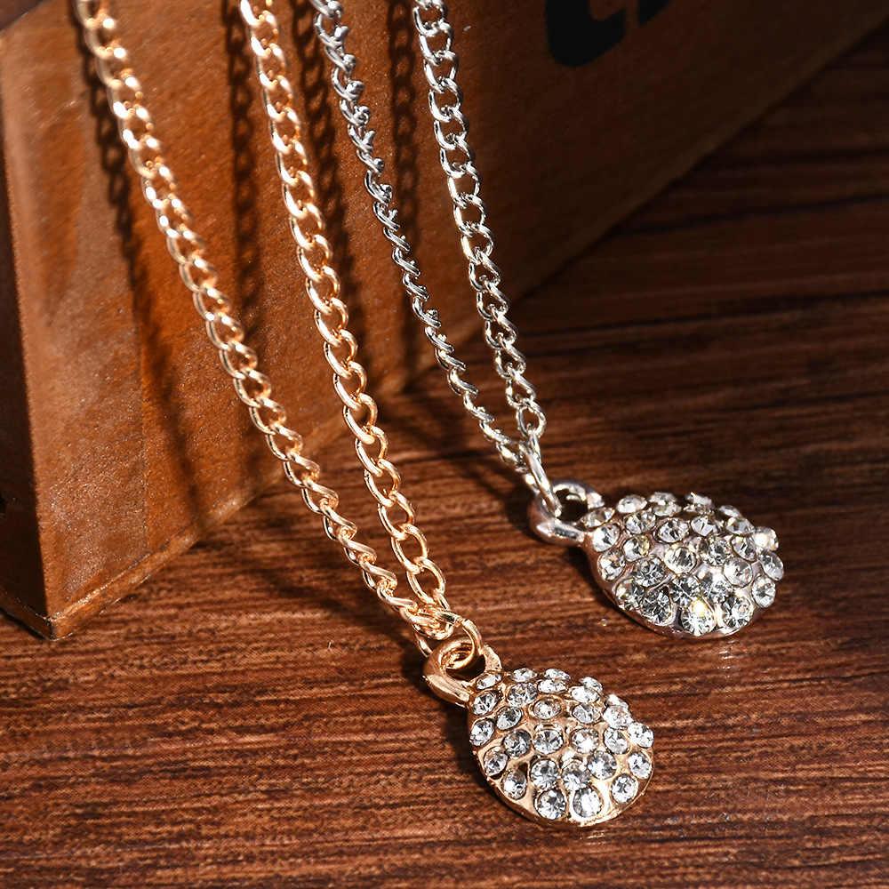 Lucu FASHION LADY Rhinestone Drop Liontin Kalung Warna Emas Perak Kalung Liontin Perhiasan untuk Wanita Panjang Kalung