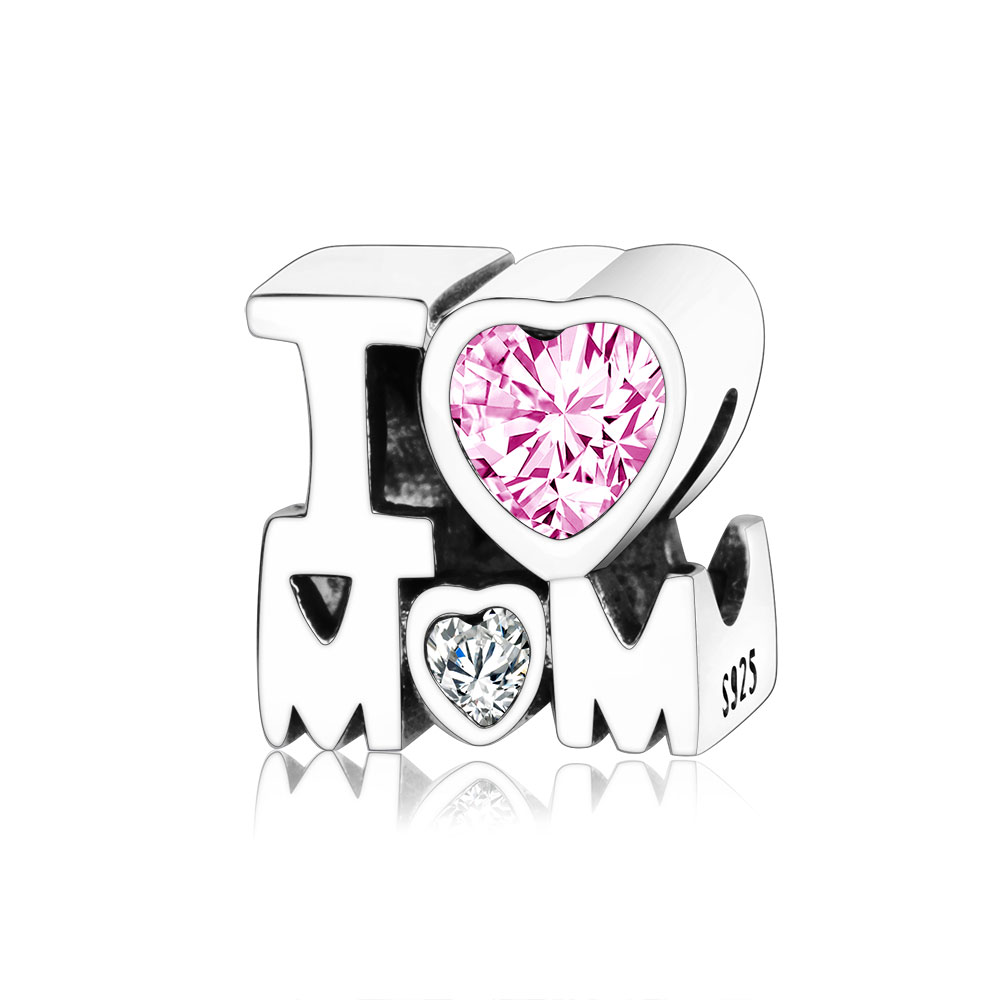 Fit Original Pandora Charm Bracelet 925 Sterling Silver Pink CZ Mom Love Heart Charm Beads 2019 Mothers Day Gifts DIY Berloque(China)