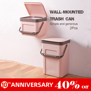 Image 1 - Untior Wandmontage Prullenbak Huishouden Keuken Plastic Draagbare Opslag Emmer Afvalbak Creatieve Badkamer Met Deksel Prullenbak