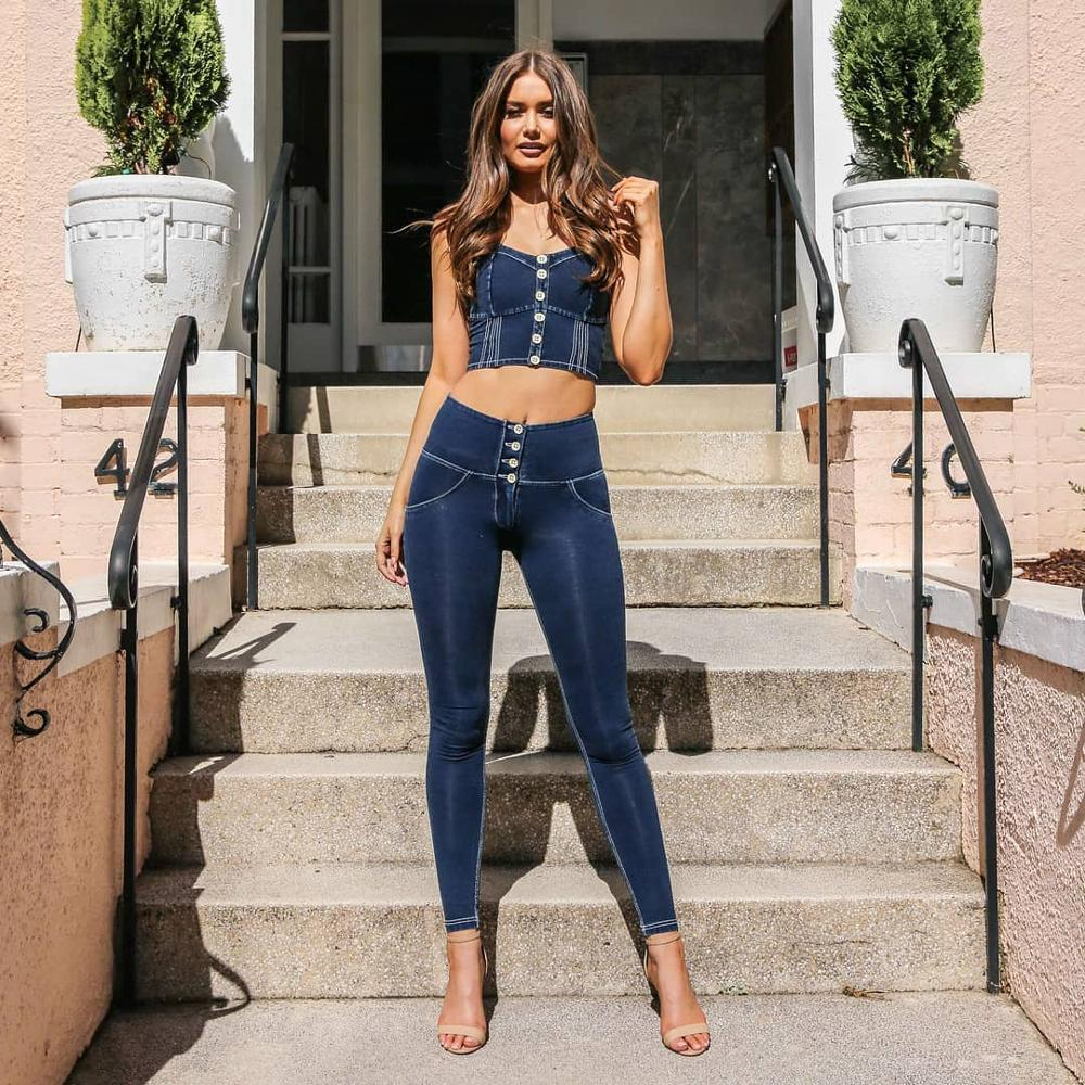 Melody Four Ways Stretchable High Waist Leggings 4 Buttons Fly Dark Blue Push Up Denim Jeggings Sexy Leggings For Women