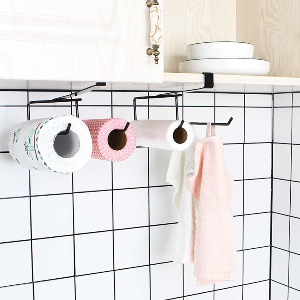 Accessories Shelf Under Cabinet Paper Roll Rack Towel Holder Tissue Hanger