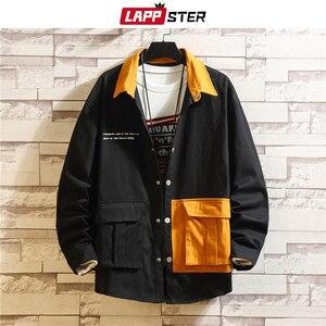 Image 3 - LAPPSTER erkekler kore modası ceketler 2020 sonbahar erkek japon Streetwear renk blok rüzgarlık Harajuku haki mont artı boyutu