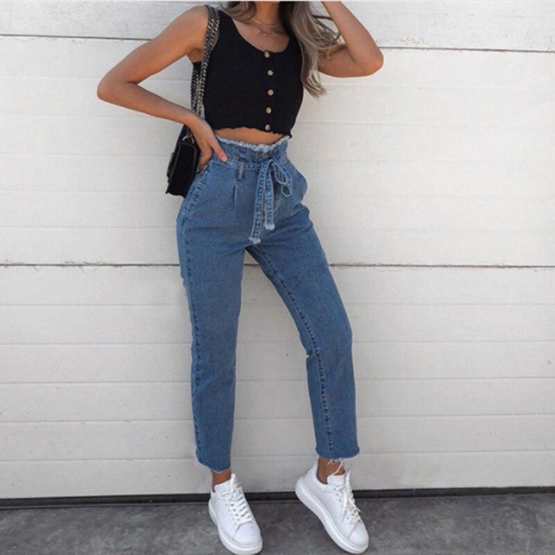 Женские джинсы с высокой талией, сексуальные джинсы, джинсовые штаны-шаровары, джинсы для женщин, высокая уличная одежда, свободные штаны