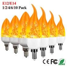 E12 LED Flame Bulb Fire E14 Lamp Candle Bulb Flickering LED Light Dynamic Flame Effect Candle Lamp Home Emulation Decor LED Bulb