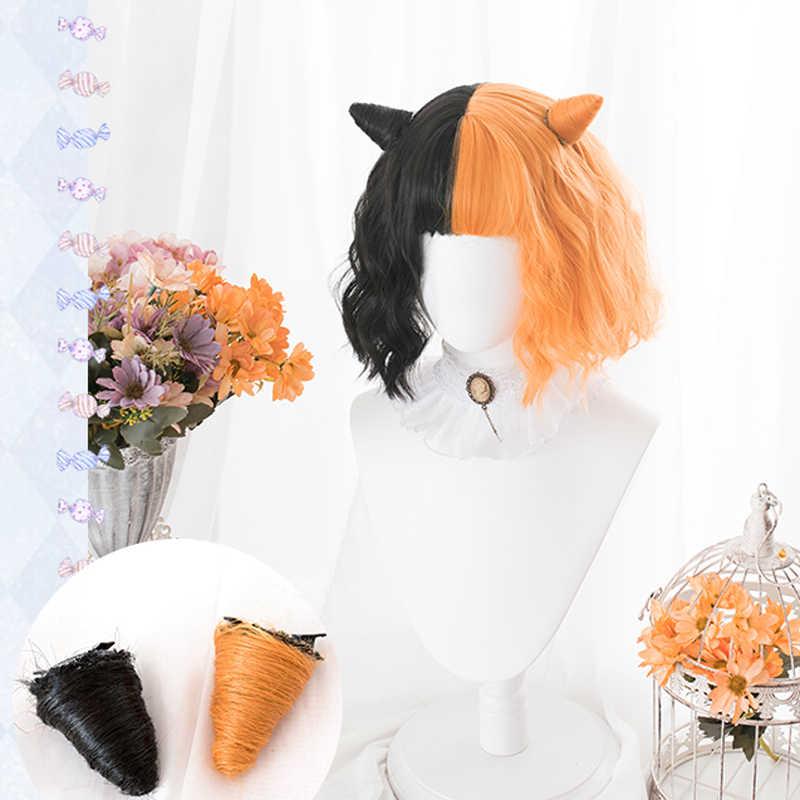 Harajuku mieszane czarne pomarańczowe Lolita peruki rogi krótkie kręcone włosy syntetyczne Fringe Bangs dorosłe dziewczyny Halloween Evil