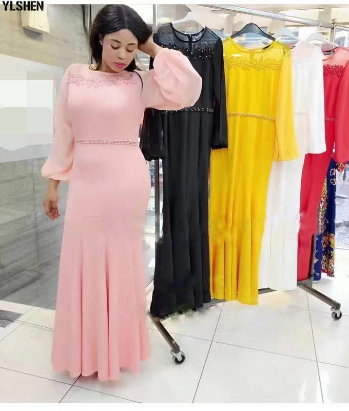 XXXL African Dresses For Women Dashiki Nail Bead African Clothes Lace Embroidered African Gown Skirt Long Sleeve Africa Dress