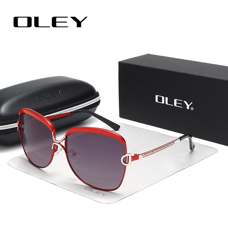Polarized Sunglasses Oculos Original-Packing Luxury Uv400-Goggles Women For Red Metal