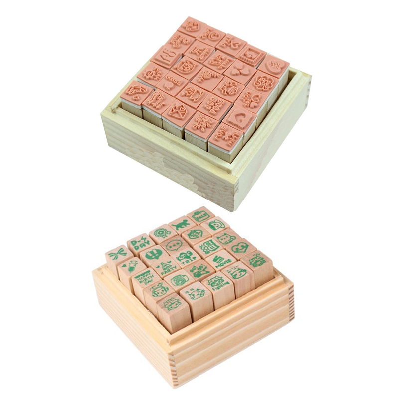 50pcs Stamp DIY Rubber Stamp Wood Stamp With Wooden Box Multipurpose Wood Rubber - 25pcs Happy Life Diary & 25pcs Lovely Diary